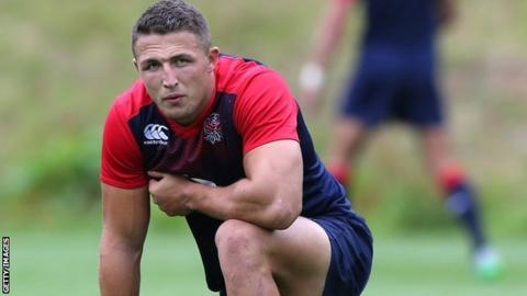 Sam Burgess pictured during England training on Monday