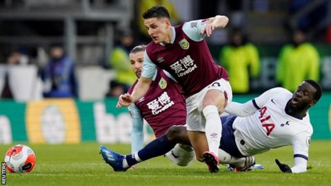 Tanguy Ndombele tackles Ashley Westwood in the 1-1 draw between Burnley and Tottenham
