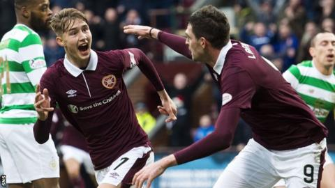 Hearts' Harry Cochrane and Kyle Lafferty celebrate against Celtic
