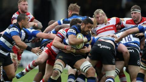 Taulupe Faletau in action for Bath against Gloucester
