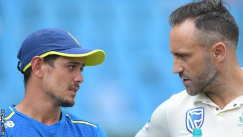 Quinton de Kock in conversation with Faf du Plessis