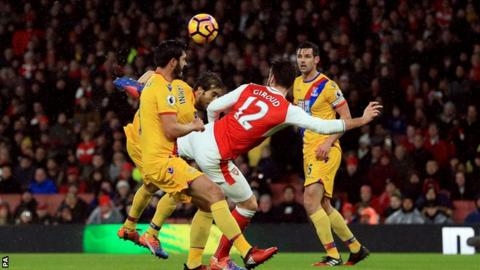 Arsenal striker Olivier Giroud scored with a 'scorpion' goal against Crystal Palace