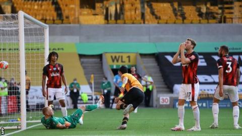 Raul Jimenez celebrates after scoring against Bournemouth