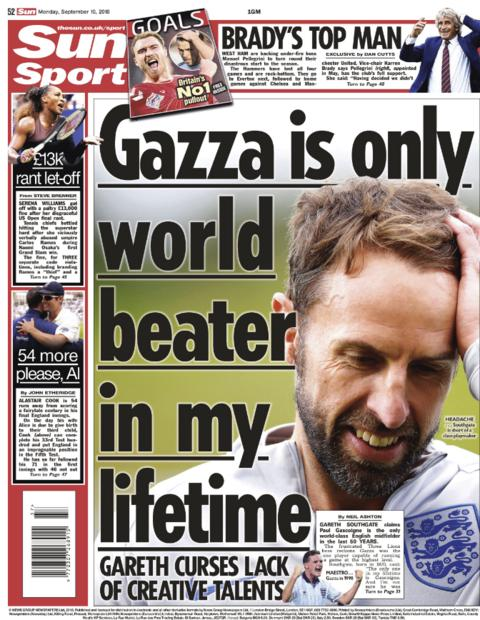 Sun back page on Monday