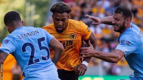 Wolves winger Adama Traore in action against Burnley during a 1-1 draw between the sides in August