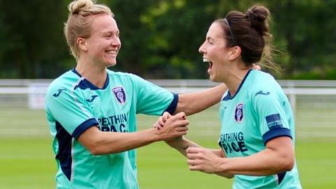 Rachel McLauchlan and Leanne Crichton celebrate as Glasgow City beat Rangers 4-0 on Sunday