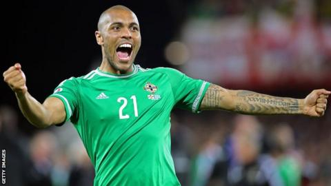 Northern Ireland striker Josh Magennis celebrates against Greece