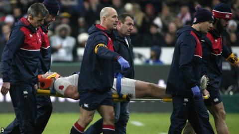 Dylan Hartley is carried off