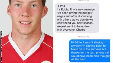 Phil Marsh (left) and the text message he received