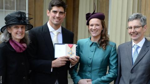 Just three days before he steps down as Test captain, Cook is joined by wife Alice, father Graham and mother Stephanie after being awarded a CBE by the Prince of Wales at Buckingham Palace