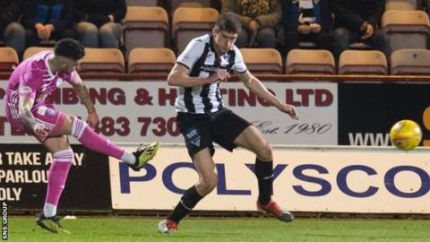 Declan McDaid curls in the only goal of the game at East End Park
