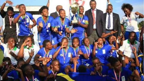 Tanzania celebrate winning the 2016 Cecafa Women's Challenge Cup