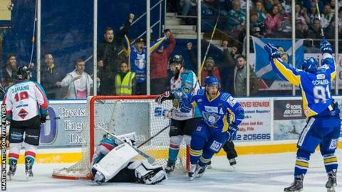 Russ Moyer wheels away in delight after scoring Fife's overtime winner on Saturday