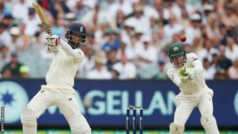 Moeen Ali is caught during the fourth Ashes Test