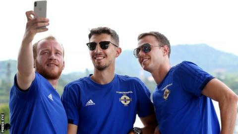 Liam Boyce, Craig Cathcart and Jonny Evans take in some of the sights ahead of the game against Panama