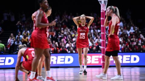 Liverpool, England, 20 July: Heartbreak for goal shooter Helen Housby and her England team-mates after losing to New Zealand in the semi-finals of the Netball World Cup. They went on to beat South Africa in the bronze-medal match at the M&S Bank Arena. (Photo by Nathan Stirk/Getty Images)