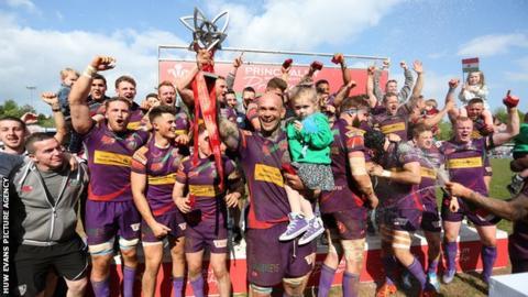 Ebbw Vale celebrate winning the 2016-17 Principality Premiership.