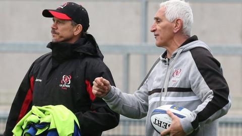 Ulster director of rugby Less Kiss in discussion with Joe Barakat at the Kingspan Stadium