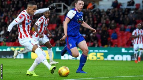 Tom Ince puts Stoke 1-0 ahead against Ipswich