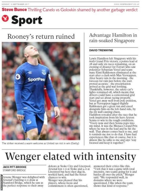 The Independent's sport pages lead with Rooney's unhappy return to Old Trafford