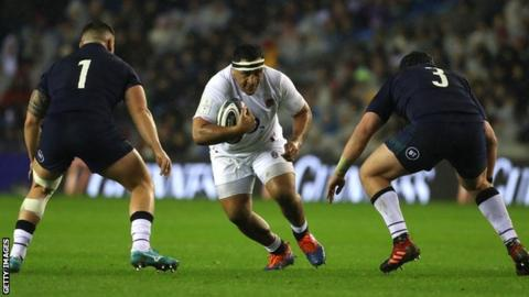 England prop Mako Vunipola runs into a tackle against Scotland in the 2020 Six Nations