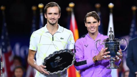 Daniil Medvedev and Rafael Nadal with their US Open trophies