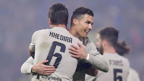 Sami Khedira and Cristiano Ronaldo