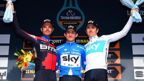 Damiano Caruso, Michal Kwiatkowski and Geraint Thomas salute the crowd on the Tirreno-Adriatico final podium