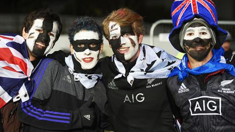 Rugby Fans watch the All Blacks play Argentina