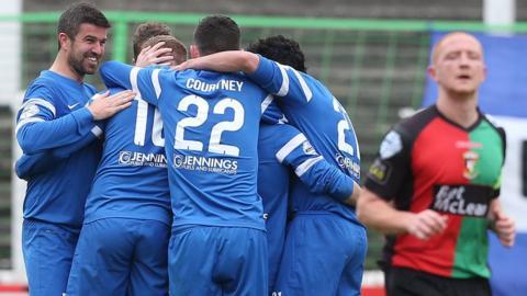 Ballinamallard celebrated a 2-0 win away to Glentoran in the Irish Premiership
