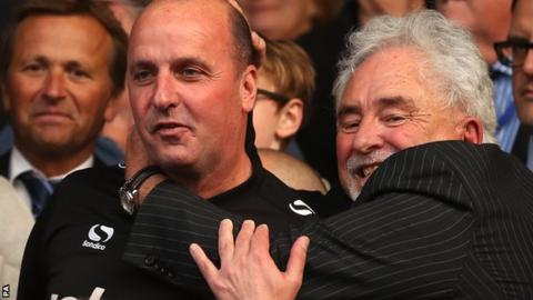 Portsmouth manager Paul Cook with departing chairman Ian McInnes