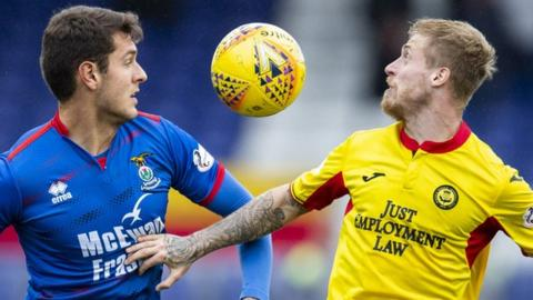 Inverness Caledonian Thistle's Nikolay Todorov in action with Partick Thistle's Tommy Robson