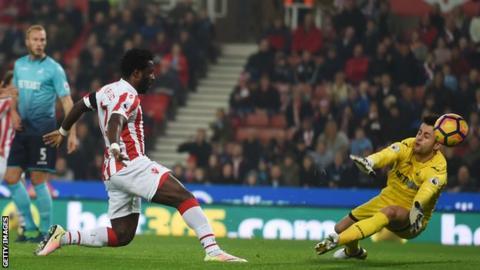 Wilfried Bony scores for Stoke against Swansea