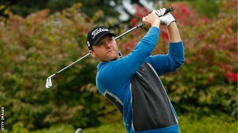 Michael Hoey tees of at the 11th in the first round of the Russian Open