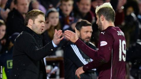 Robbie Neilson congratulates Spanish striker Juanma