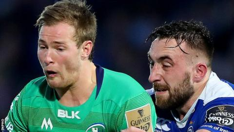 Kieran Marmion of Connacht in action against Leinster's Jack Conan