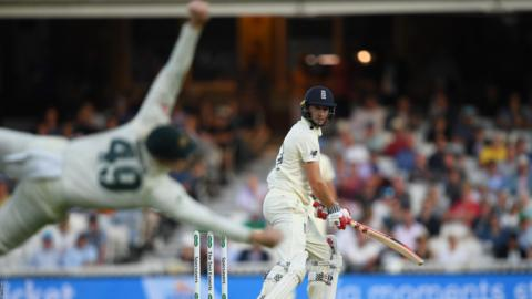 London, England, September 14: Chris Woakes of England edges behind to Steve Smith of Australia during Day Three of the 5th Specsavers Ashes Test between England and Australia at The Kia Oval (Photo by Alex Davidson/Getty Images).