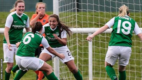Abi Harrison of Hibs (centre)
