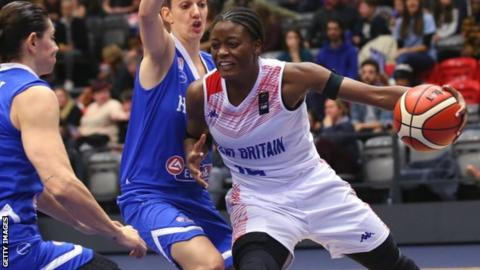 Temi Fagbenle playing against Greece