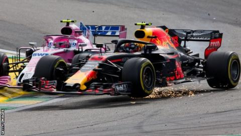 Esteban Ocon (left) and Max Verstappen