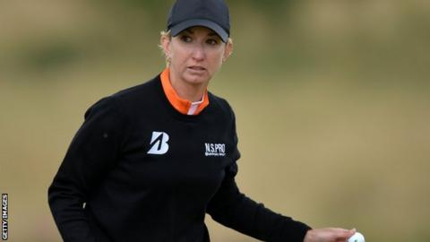 Karrie Webb celebrates a putt during her third round at the Ladies Scottish Open