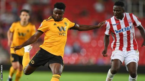 Bright Enobakhare playing for Wolves against Stoke