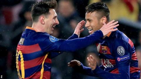 Lionel Messi and Neymar celebrate a goal for Barcelona
