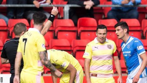Referee John Beaton shows the yellow card to Graham Cummins