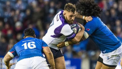 Jamie Bhatti made his Scotland debut against Samoa in November