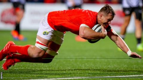 Arno Botha scores his second Munster try against Southern Kings