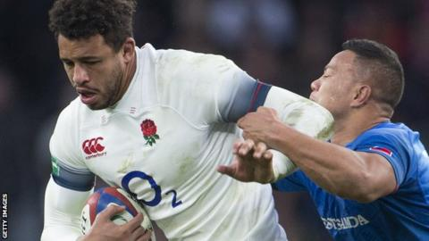 Courtney Lawes in England action