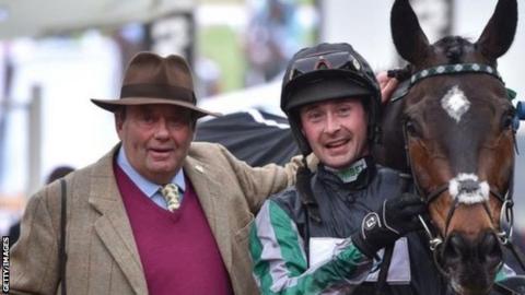 Nicky Henderson with jockey Nico de Boinville and Altior