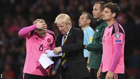 Gordon Strachan with some of his Scotland players