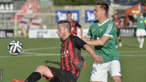 Michael Carvill in action during the first leg